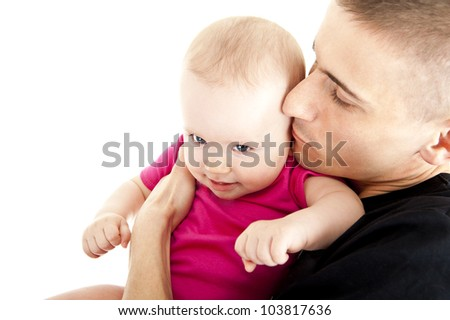 father with his baby on his arms