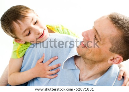 father with his son on a white background