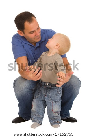 father with son isolated on a white background - stock photo