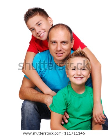 Father with two sons on white background - stock photo