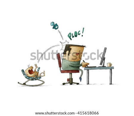 Father working on computer while his baby playing with nipple and knocking it at his head - stock photo