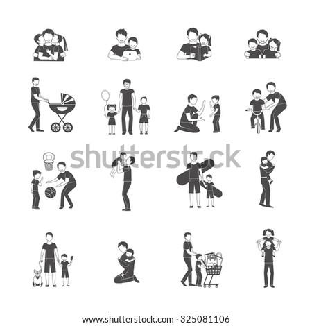Fatherhood black icon set with happy family holidays symbols isolated  illustration - stock photo