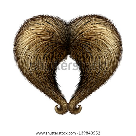 Fathers day concept with a male handlebar mustache in the shape of a heart as a father's day symbol of parenting love towards his children and celebrating fatherhood on a white background. - stock photo