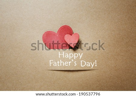 Fathers day message with red paper small hearts - stock photo