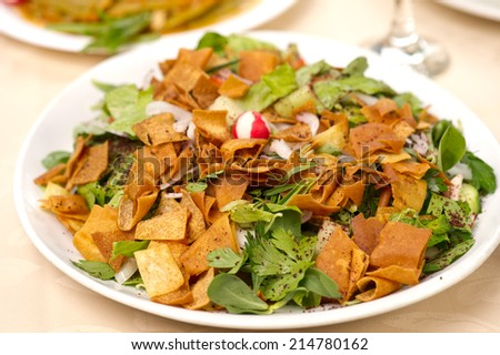 fattoush Salad , Lebanese salad  - stock photo
