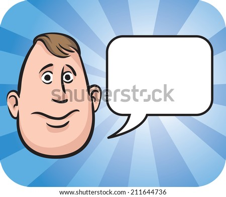 Fatty face with speech bubble - stock photo