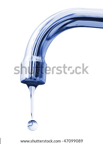 Faucet and water drop isolated on white background - stock photo