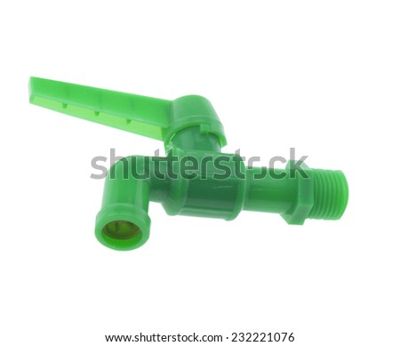 Faucet green isolated on white background. - stock photo