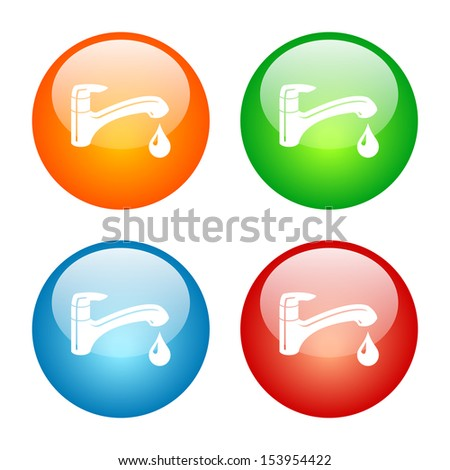 Faucet Icon Glass Button Icon Set.  Raster version. - stock photo
