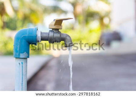 Faucet is opening that have water movement