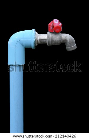 faucet isolated on black background - stock photo