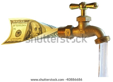 faucet, processing dollars in water - stock photo