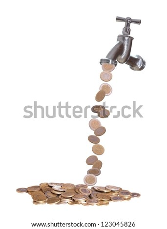 faucet were european currency drops out - stock photo