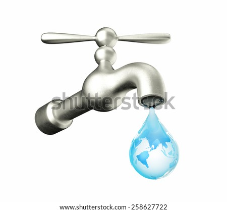 faucet with water drop isolated on white background - stock photo
