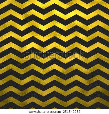 Faux Gold Foil Metallic Black Chevron Pattern Chevrons Texture Zig Zag Background - stock photo