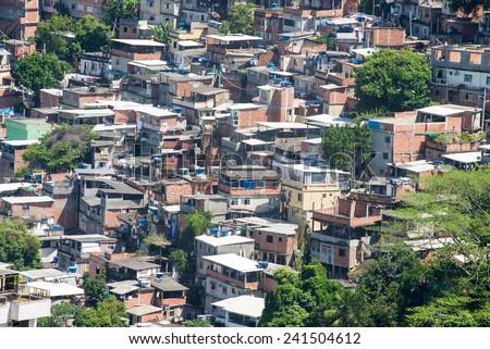 Favela near Copacabana in Rio de Janeiro. Brazil - stock photo