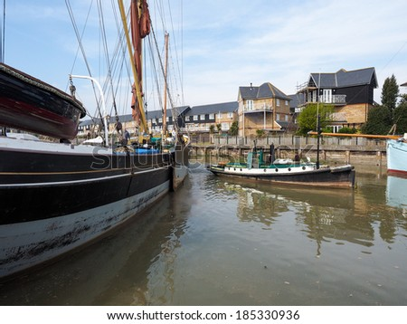 FAVERSHAM, KENT/UK - MARCH 29 : Close up view of the Cambria restored Thames sailing barge in Faversham Kent on March 29, 2014. Unidentified people - stock photo