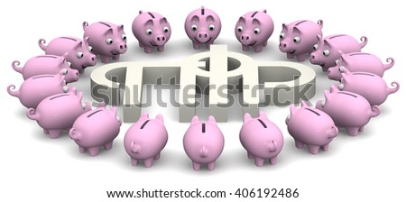 Favorable savings in the pension fund of the Russian Federation. Pig piggy banks surrounded the symbol of the pension fund of the Russian Federation. Isolated. 3D Illustration - stock photo