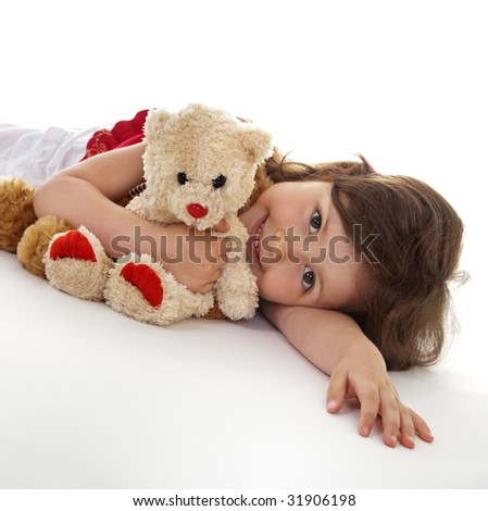 Favorite teddy bear of little girl