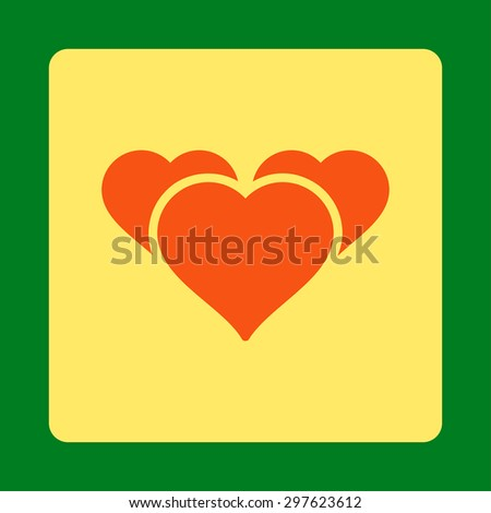 Favourites icon from Award Buttons OverColor Set. Icon style is orange and yellow colors, flat rounded square button, green background. - stock photo