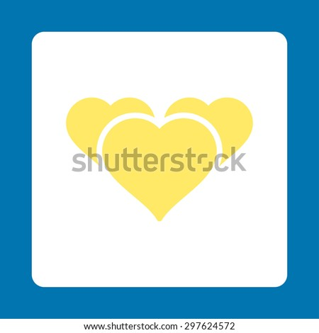 Favourites icon from Award Buttons OverColor Set. Icon style is yellow and white colors, flat rounded square button, blue background. - stock photo