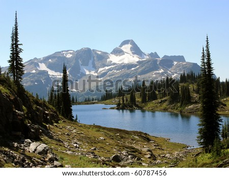 Fawn Lake With Mount Fosthall In Back (Monashee Provincial Park, British Columbia, Canada) - stock photo