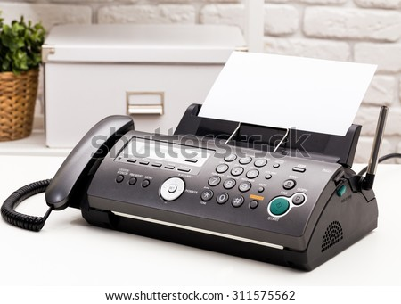 Fax machine close up, office equipment