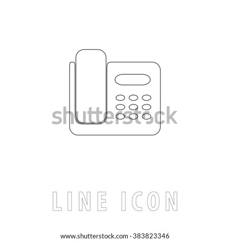 Fax machine. Outline simple pictogram on white. Line icon - stock photo