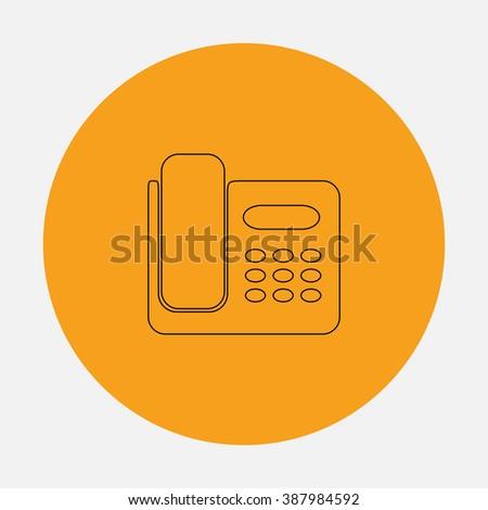 Fax machine. Simple flat icon on orange circle - stock photo