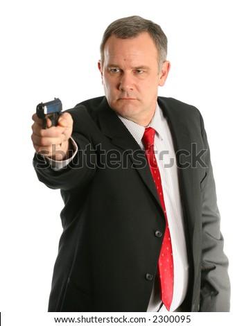 FBI Agent Pointing Handgun - stock photo