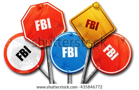 fbi, 3D rendering, rough street sign collection - stock photo