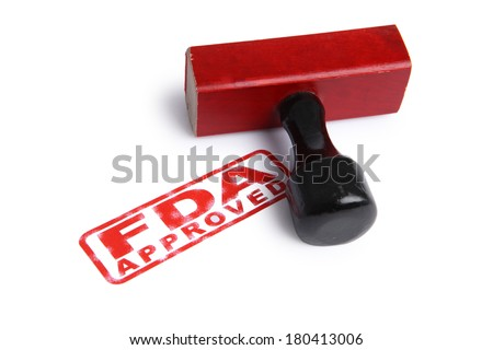FDA APPROVED stamp and rubber stamper - stock photo