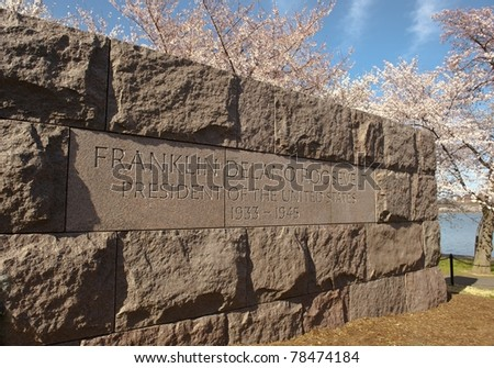 FDR war memorial in Washington DC surrounded by Cherry Blossoms. - stock photo