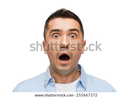 fear, emotions, horror and people concept - scared man shouting - stock photo