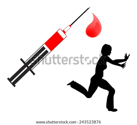 Fear of Blood. Humorous concept sign of a female person who cannot stand the view of blood - stock photo
