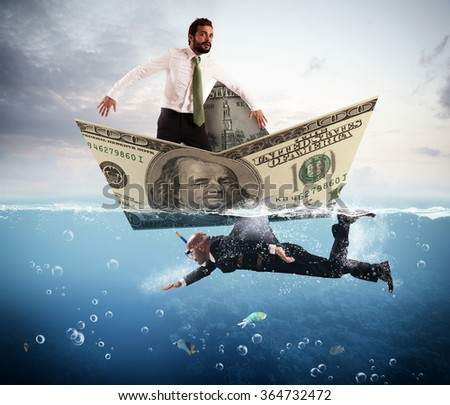 Fear of business sharks - stock photo