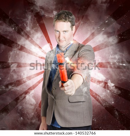 Fearless bomber man manhandling lit explosives when looking to end it all in explosive style. Game over - stock photo