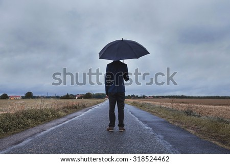 fears and life changing concept, dark faded colors - stock photo