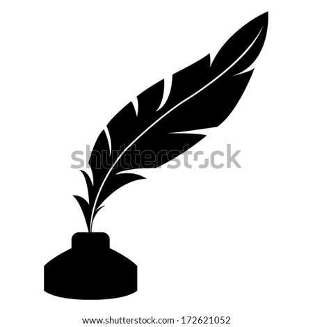 feather and ink bottle icon - stock photo