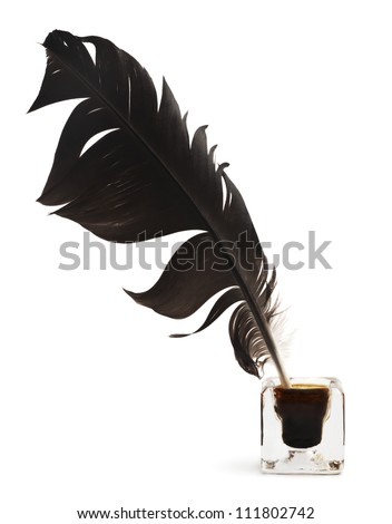 Feather and ink bottle isolated - stock photo