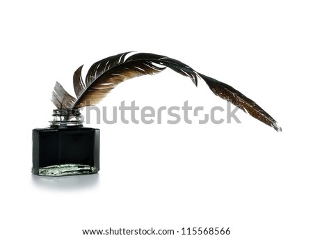 Feather and ink bottle on white background - stock photo
