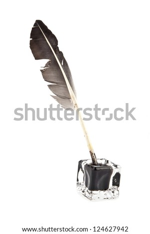 feather and ink-pot is isolated on a white background - stock photo