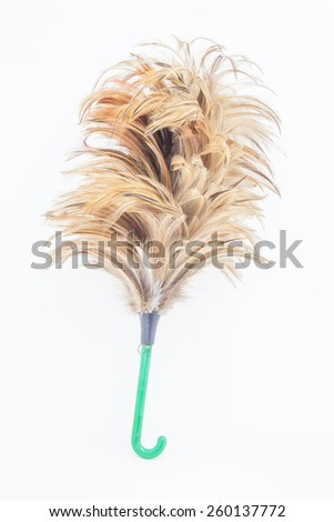 Feather broom isolated - stock photo