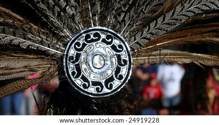 Feather headdress of an Inca woman at a festival - stock photo