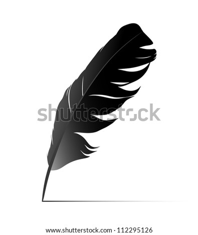 Feather on white background vectr. Raster version of the loaded vector - stock photo