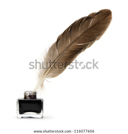Feather pen into the inkwell. Isolated on a white background.