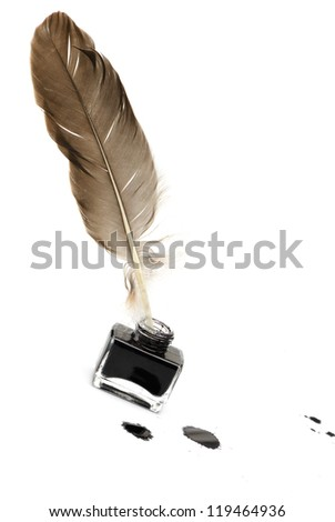 Feather pen set of abstract colour. Isolated on a white background. - stock photo