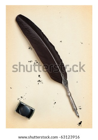Feather quill and inkwell on an old paper. Isolated on white.Drops of the sprayed ink - stock photo