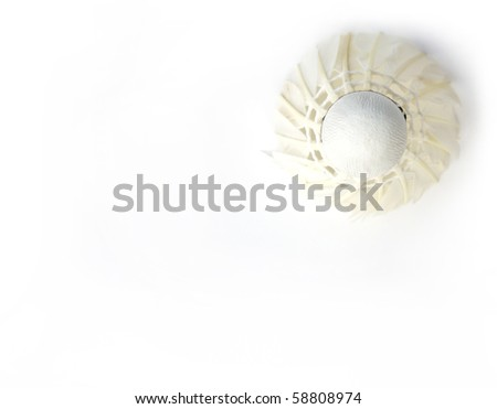 feather shuttlecock for badminton isolated on a white background - stock photo