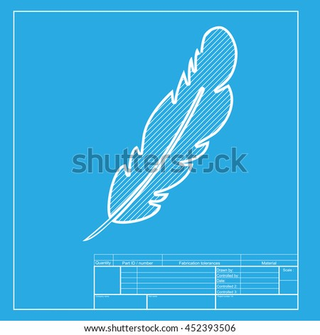 Feather sign illustration. White section of icon on blueprint template. - stock photo